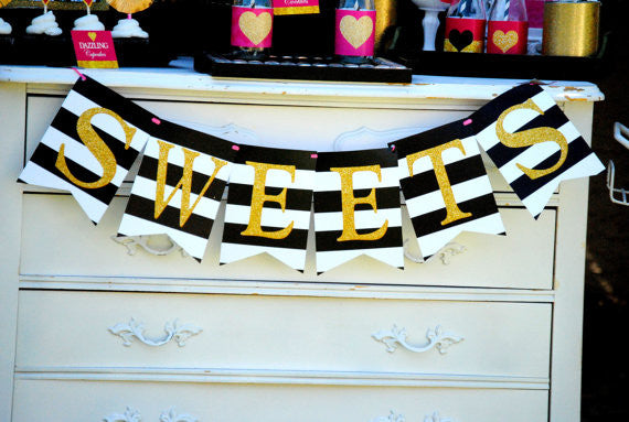 Gold Heart - BANNER - Black and White Stripe - Wedding Banner - SWEETS Banner - Wedding - Glitter Heart - Bridal Shower - INSTANT DOWNLOAD