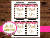 Black and White Striped Bridal Shower - THANK YOU TAGS- Pink Wedding