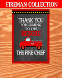 FIREMAN Birthday - SIGN - Fire Fighter Party- Fire Department Decorations