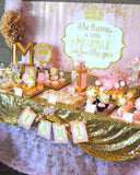 PRINCESS Birthday - Sparkle CANDY LABELS - Pink and Gold Party
