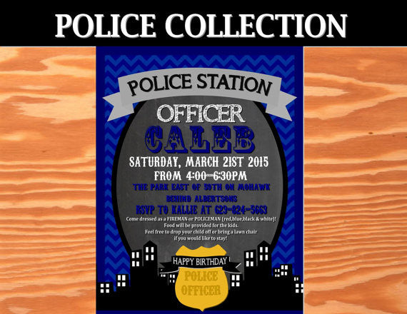 POLICE Officer Party - Police INVITATION - Police Birthday - Cops and Robbers - Police Retirement