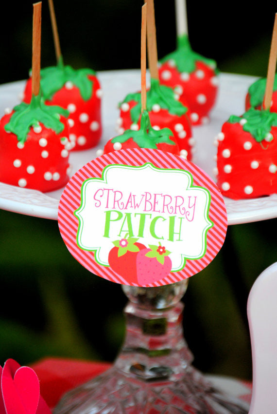 STRAWBERRY Party- Strawberry Birthday- CANDY JAR LABELS