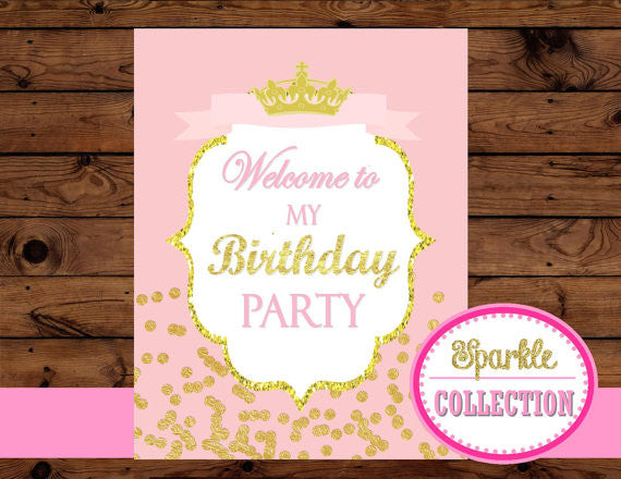 PRINCESS Birthday - Sparkle SIGN - She Leaves Sparkles