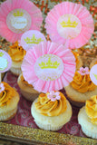 PRINCESS Birthday - Sparkle CUPCAKE TOPPERS - First Birthday