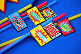 SUPERHERO Party- COMIC Hero Party- Superhero Birthday- Superhero STRAW FLAGS