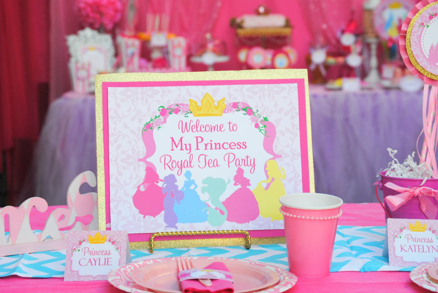 PRINCESSES Party- SIGNS- Girl Birthday Party- Pink- Printable- INSTANT Download