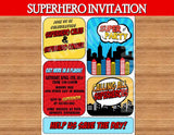 SUPERHERO Party- COMIC HERO Party- Superhero Birthday- Comic Book INVITE- Superhero INVITATION