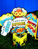 SUPERHERO Party- COMIC Hero Party- Superhero Birthday- RESTROOM SIGN - Decorations