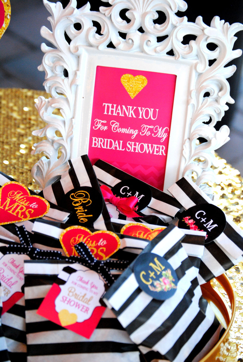 BRIDAL SHOWER - Bridal SIGN - Shower THANK YOU SIGN - Pink Wedding