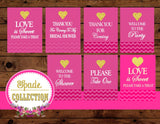 Bridal Shower- SIGNS- Gold Heart - Gold - Pink- Wedding