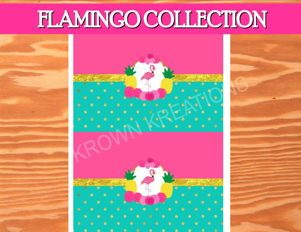 FLAMINGO Party - Flamingo Printables -Flamingo Birthday - Flamingo CANDY WRAPPER - Pineapple - Luau Party