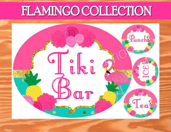 FLAMINGO Party - Flamingo SIGN- Flamingo Printables -TIKI Sign - Flamingo Birthday - Pineapple - Luau Party