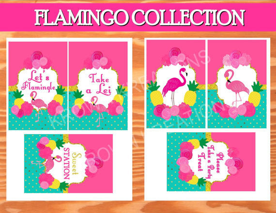 FLAMINGO Party- Luau Party- Flamingo Printables- Flamingo Birthday- Pineapple- Flamingo SIGN