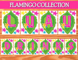 FLAMINGO Party- Hawaiian Luau- Pool Party - Flamingo Birthday Banner- Flamingo BANNER