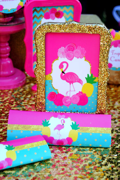 FLAMINGO Party- Flamingo Printables- Flamingo Birthday- Pineapple- Luau Party- Flamingo CANDY WRAPPER