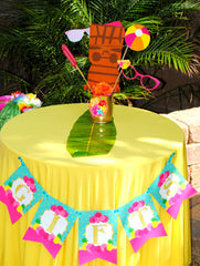 FLAMINGO Birthday Party- Hawaiian Luau- Luau- Flamingo GIFTS BANNER
