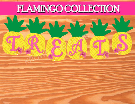 FLAMINGO Party- Pineapple BANNER - Hawaiian Luau- Pool Party - Flamingo Birthday Banner
