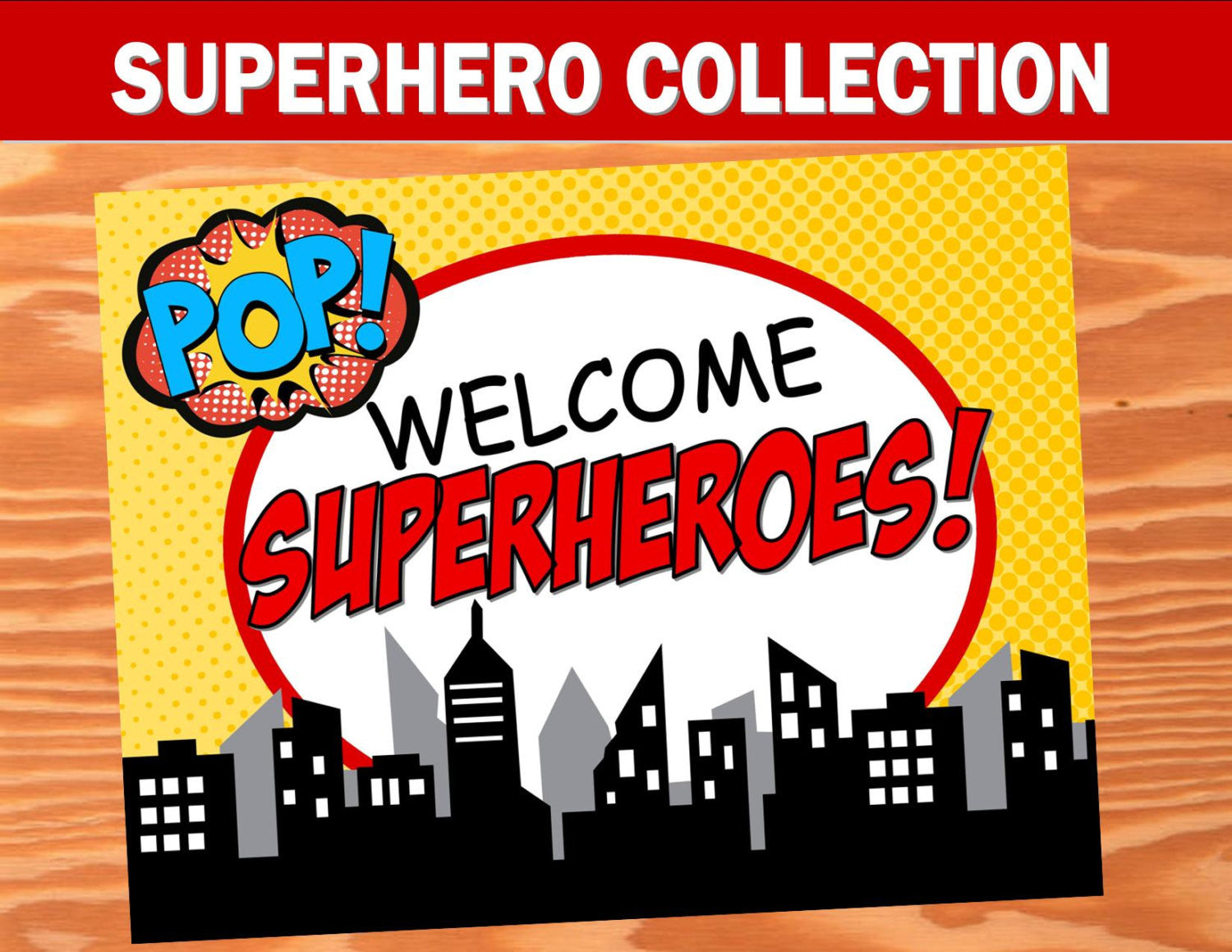 SUPERHERO Party- COMIC HERO Party- Superhero Birthday- WELCOME SIGN- Comic Party