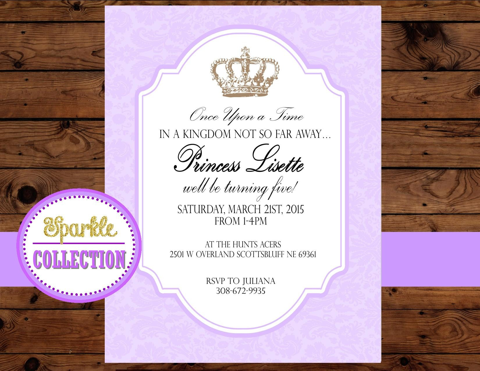 Baby Shower- INVITATION- Princess Invitation- Purple - Princess Party