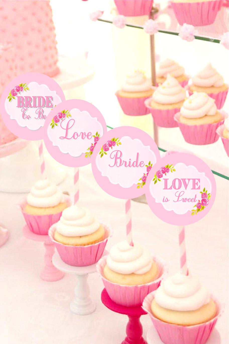 PINK BRIDAL SHOWER - Bridal CUPCAKE TOPPERS