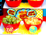 SUPERHERO Party- COMIC Hero Party- Superhero Birthday- FOOD LABELS