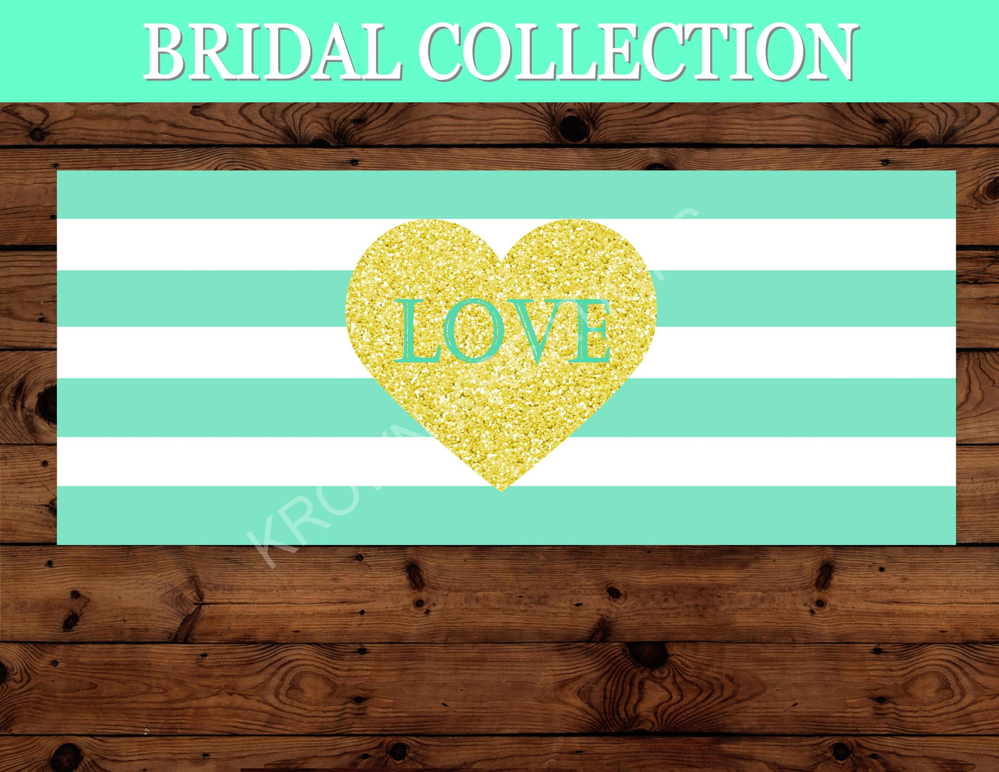 Gold Heart - Shower BACKDROP - Mint and Gold Shower