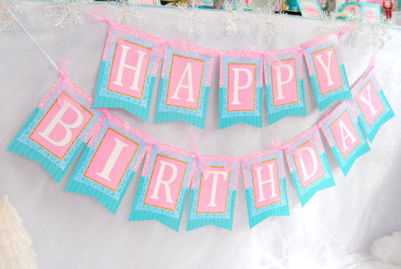 NUTCRACKER Birthday Party- Ballerina Party- Winter Party- Snowflake- Nutcracker BANNER- Nutcracker Printables