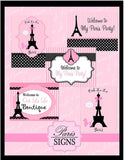 PARIS Party- PARIS Birthday Party- THANK YOU TAGS- Pink