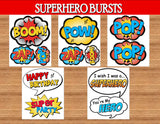 SUPERHERO Party- COMIC HERO Party- Superhero Birthday- BURSTS- Comic Party