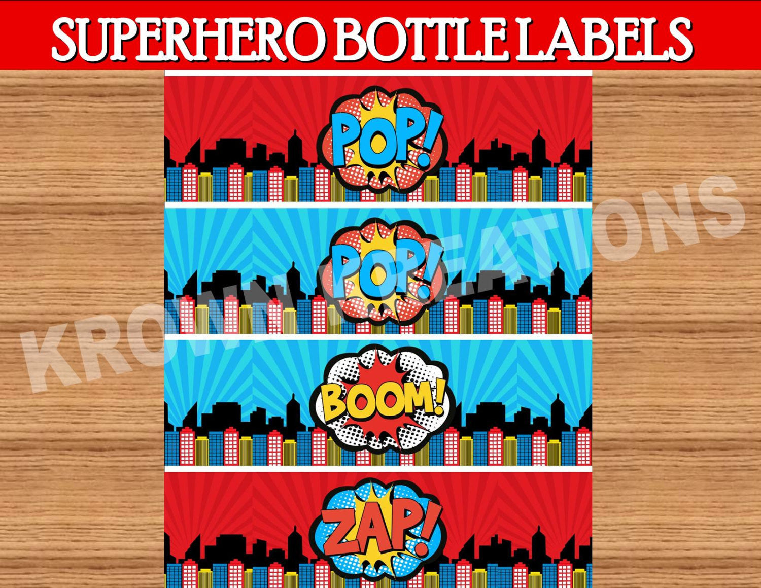 SUPERHERO Party- Superhero Birthday - COMIC BOOK Party-  BOTTLE LABELS- INSTANT DOWNLOAD