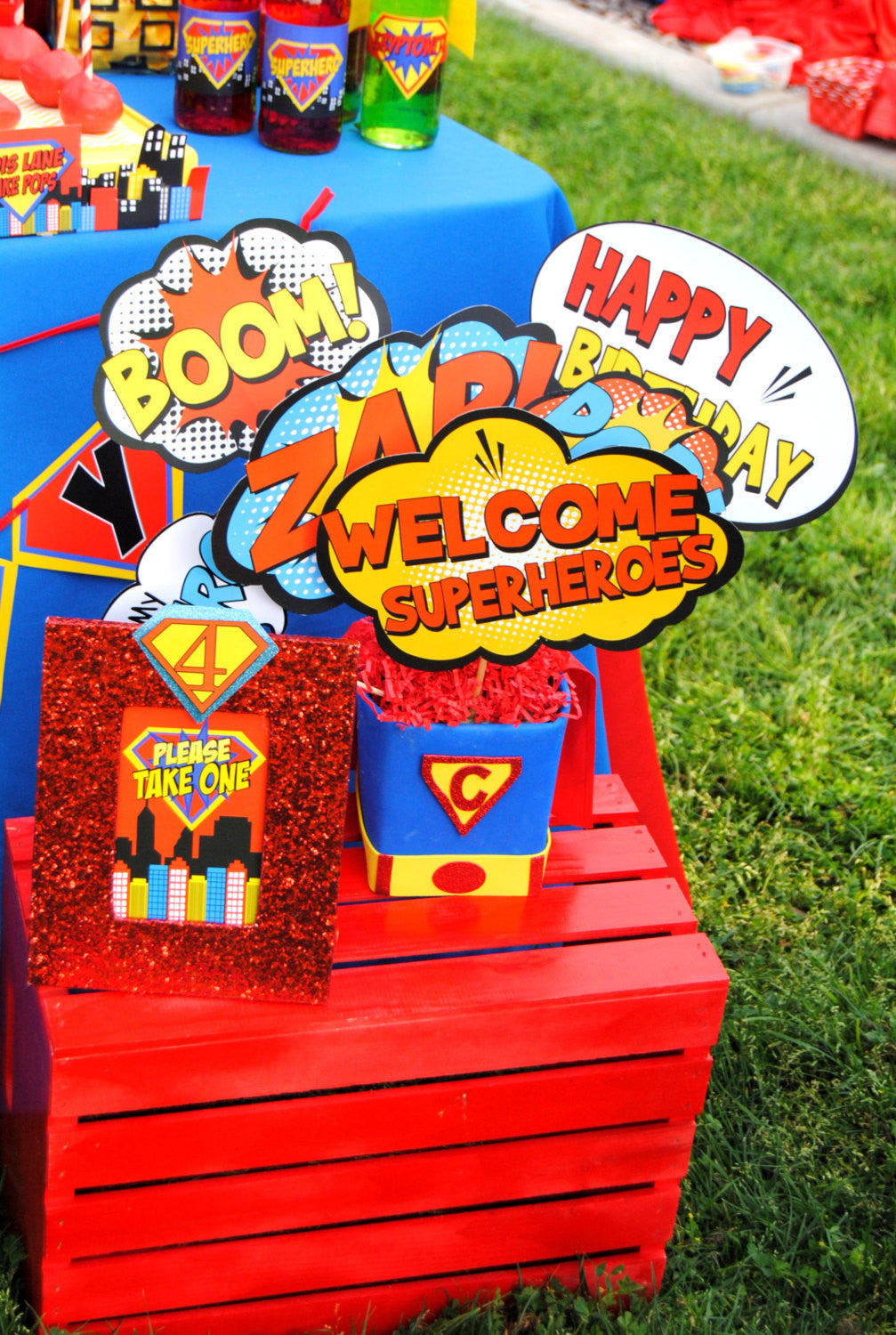 SUPERHERO Party- COMIC Hero Party- Superhero Birthday- Superhero BURSTS- Comic Party