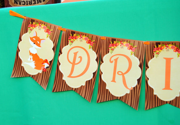 WOODLAND Party- Woodland Baby Shower BANNER - Fox