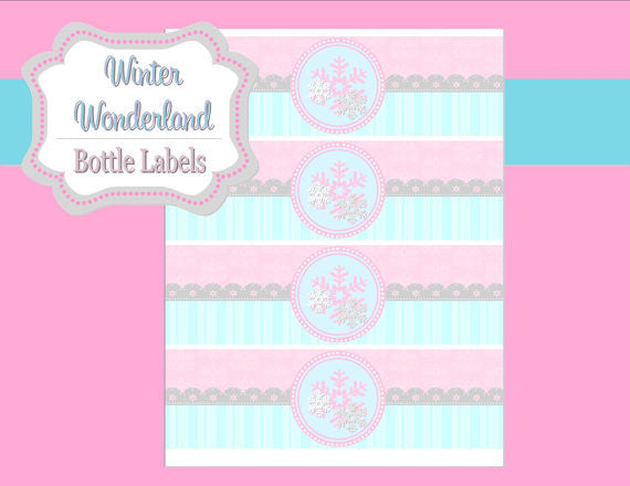 WINTER Wonderland Party- ONEderland Party- Snowflake- BOTTLE LABELS