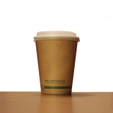 12oz Brown Compostable Paper Cup with Lid