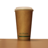 16oz Brown Compostable Paper Cup with Lid