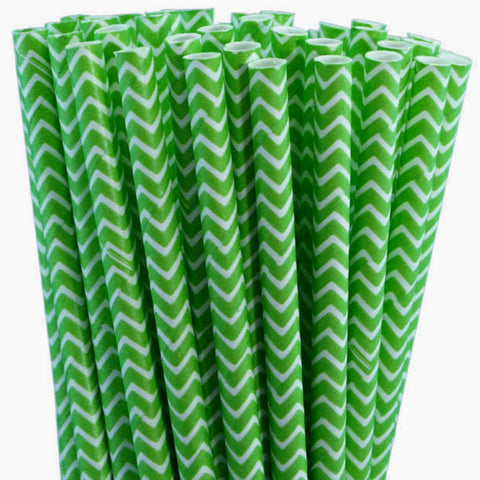 Green Jagged Stripe Eco Straws