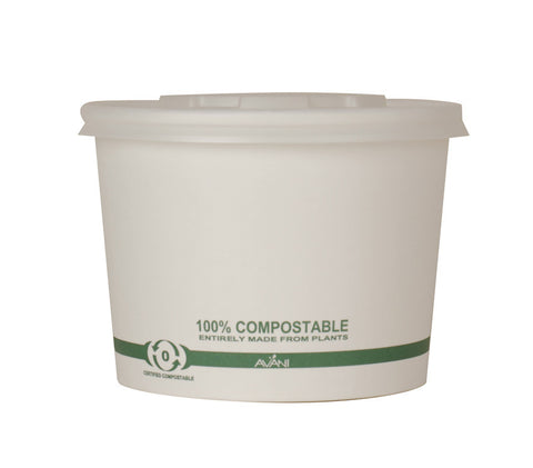 16oz Compostable Paper Bowl with Lid (Pack of 100, 250 or 500pcs)