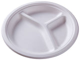 23cm Triple Compartment Round Bagasse Plate