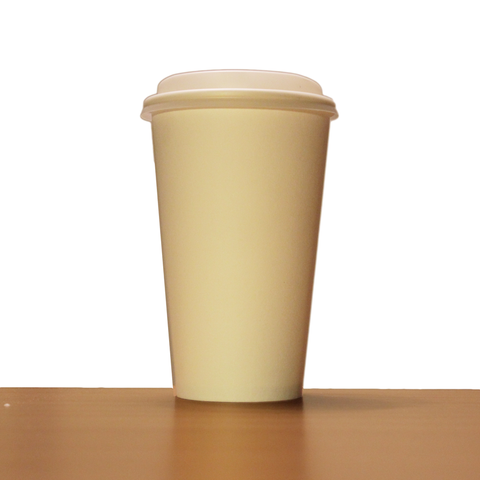 16oz White Compostable Paper Cup with Lid