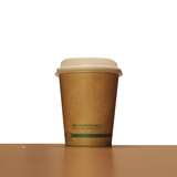 8oz Brown Compostable Paper Cup with Lid