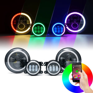 "7"" LED Headlights / LED Fog Light - Multi color Combo, , SUITECH, SUITECH - SUITECH"