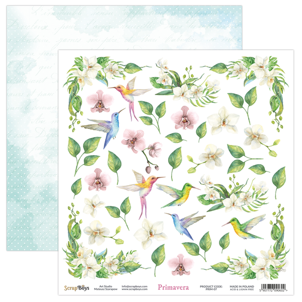Pre-Order ScrapBoys - Primavera - 12x12 double-sided Patterned Paper (PRIM-07)