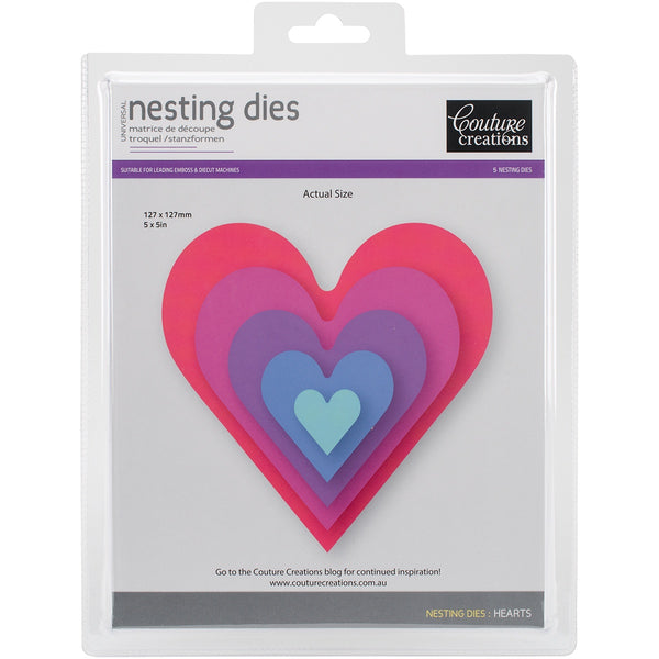 Couture Creations - Nesting Hearts - Cutting Die - 5 Piece Set (CO723213)