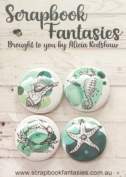 "Flair Buttons [1""] - Sea Creatures 1 (4 pieces) Designed by Alicia Redshaw"
