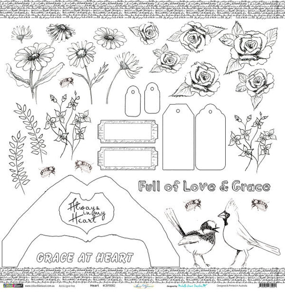 Colour Blast - Love and Grace - 250gsm - 12 x 12 Embellishment Sheet- Heart (CBP0082)