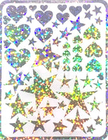 Mini-Stickers - Hearts & Stars Holo Silver (55 pieces) Designed by Alicia Redshaw
