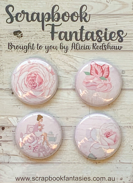 "Springtime Tea Party Flair Buttons [1""] - Tea & Roses (4 pieces) Designed by Alicia Redshaw Exclusively for Scrapbook Fantasies"