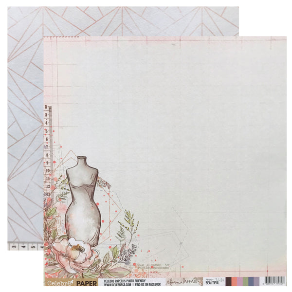 Celebr8 12x12 d/s Patterned Paper - A Formal Affair - Beautiful (PP3701)