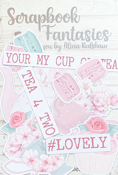 Springtime Tea Party Colour-Cuts Minis - Tea for Two (13 pieces) Designed by Alicia Redshaw Exclusively for Scrapbook Fantasies