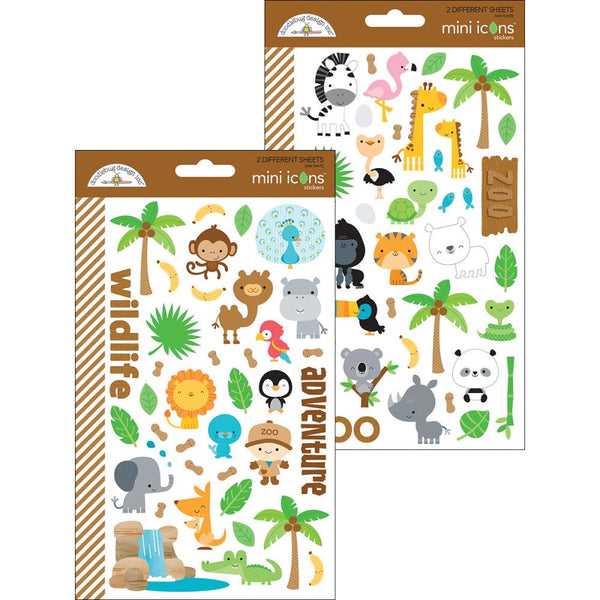 Doodlebug Design Inc. - Mini Icons Stickers - At The Zoo Stickers (5712)